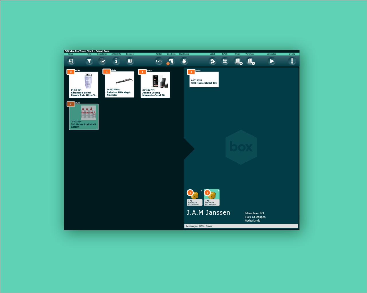 Boxwise® touch interface - inpakscherm